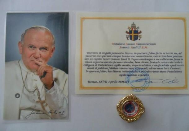 Santuário dos Cerejais recebe relíquias de 1ª e 2ª classe de S. João Paulo II