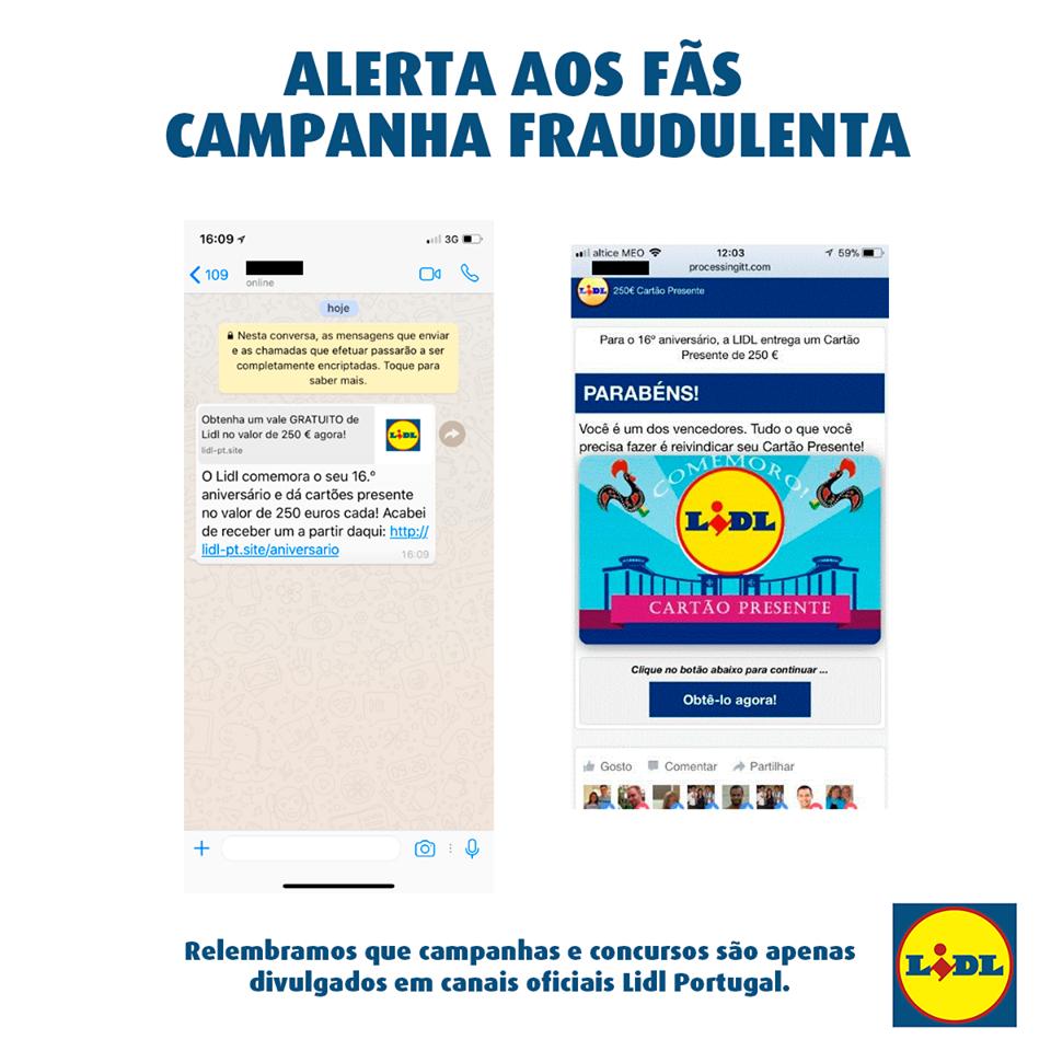 Cuidado: anda a circular na internet uma campanha falsa em nome do Lidl