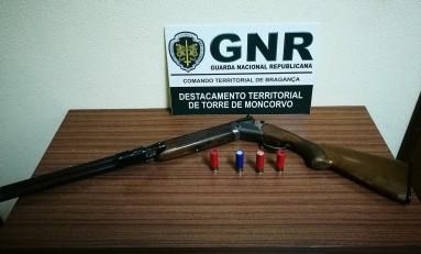 Arma de fogo e munições apreendidas em Torre de Moncorvo