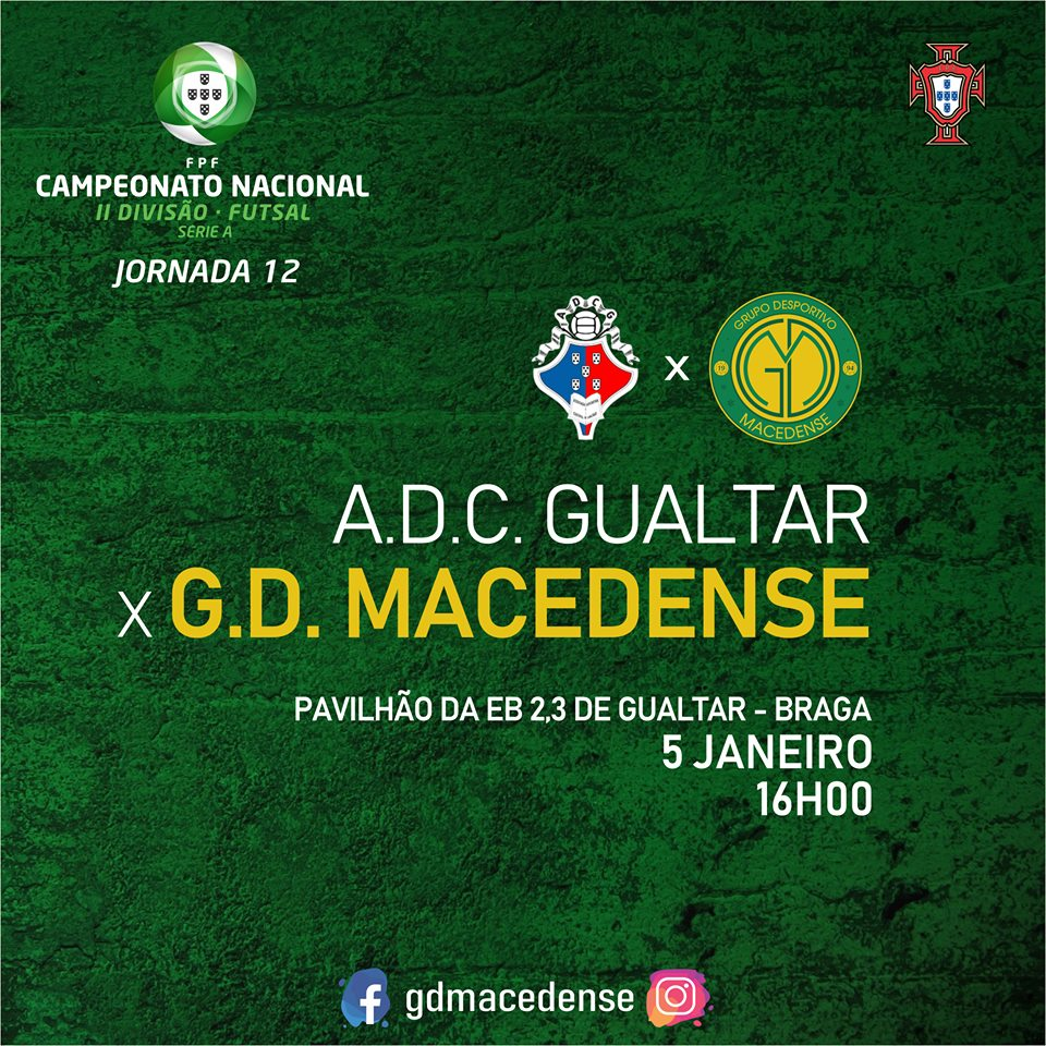 Macedense disputa a 12ª jornada em casa do Gualtar