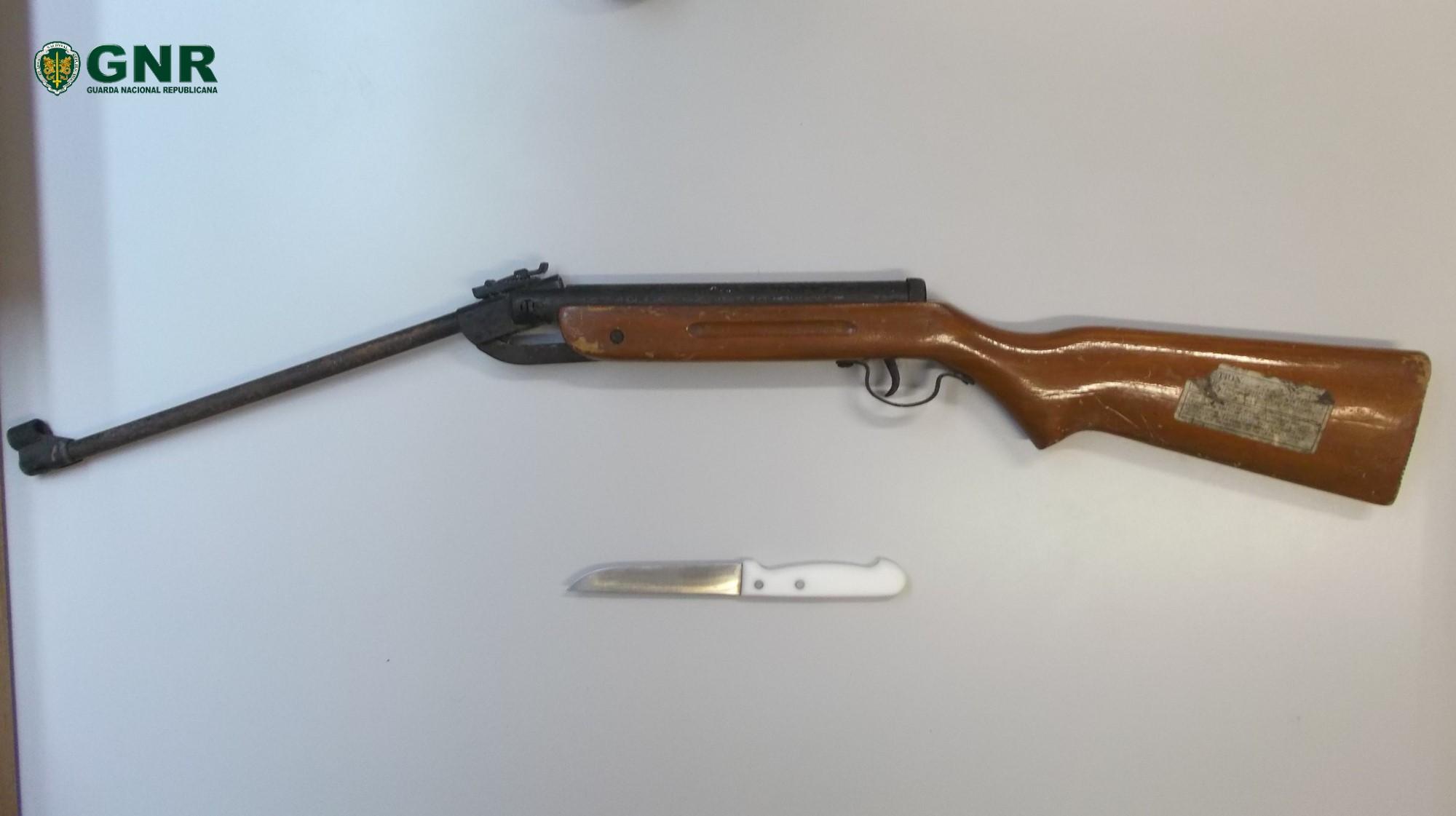 Armas apreendidas a alegado agressor em Vila Flor