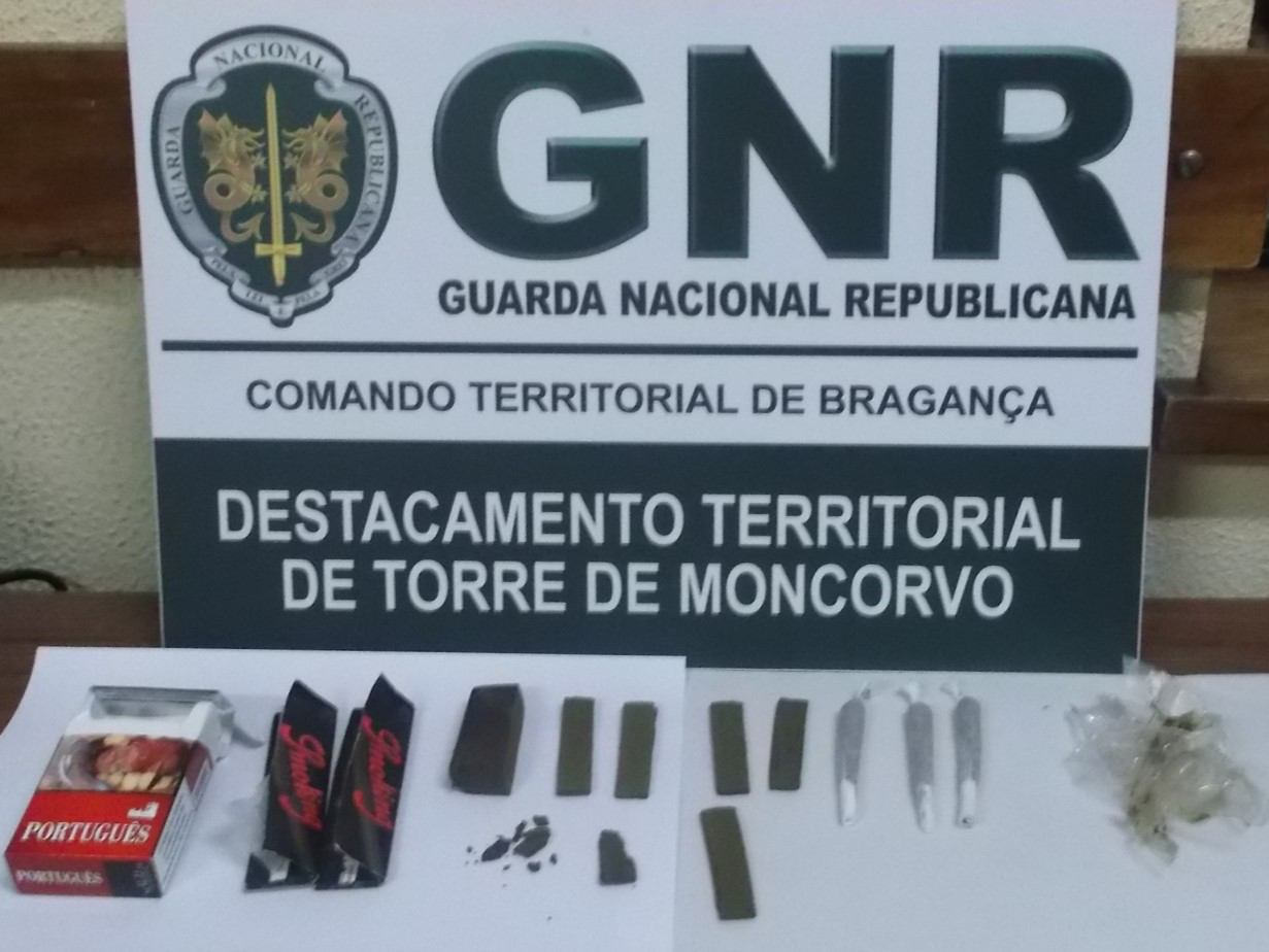 Homem detido em Torre de Moncorvo por ter na sua posse 69 doses de haxixe